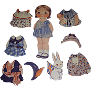 "1932 Vintage Dolly Dingle Paper Doll Set ""World of Flight in England"" by Drayton"