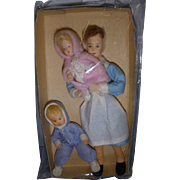 Vintage Trio of Erna Meyer German Nurse with Children Dollhouse Dolls!