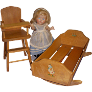 Vintage 1950s Strombecker Cradle and High Chair with Tray Set