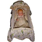 Vintage All-Bisque Baby in Bassinet