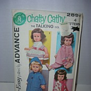 Advance 1962 Vintage Official Mattel Chatty Cathy Doll Pattern.