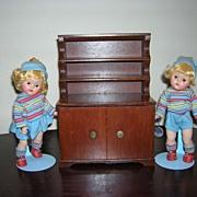 Vintage Halls Dark Wooden Hutch for Dolls!
