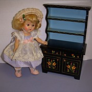 HTF Vintage Black Lacquered Wood Doll Hutch!