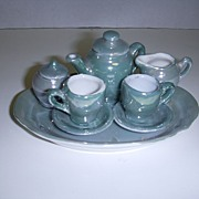 Vintage Miniature Blue Luster Tea Set Made in East Germany!