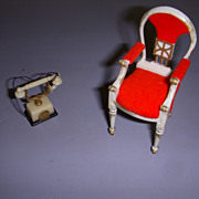 Petite Princess Dollhouse Furniture Hostess Dining Chair & French Style Phone!