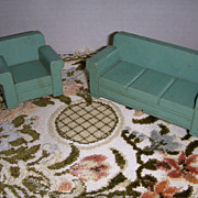 Vintage 1930s Strombecker Wooden Sofa & Chair Living Room Set!