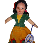 """Vintage Cloth Norah Wellings """"Mexican Girl"""" Doll with Hand Tag & Label!"""
