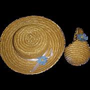 Vintage 1950s Straw Hat & Purse Set
