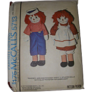 Vintage McCall's 1977 Uncut Raggedy Ann & Andy Pattern with Transfers