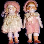 Vintage All-Bisque German Miniature Pair of Dolls All Original
