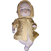 Vintage All-Bisque German Baby Dolls With Molded Baby Bottle!