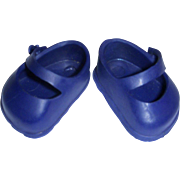 """Vintage 1950s Navy Blue 8"""" Doll Shoes"""