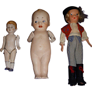 Vintage All-Bisque Dolls Lot of 3
