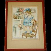 SOLD Charming Antique FLORENCE ENGLAND NOSWORTHY Framed 1910 Print, Girl Dusting