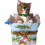Vintage LIMOGES FRANCE Hand Painted Trinket Box, KITTY CAT in Package, Mint