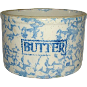 Striking Antique STONEWARE Blue & White SPONGE WARE BUTTER CROCK