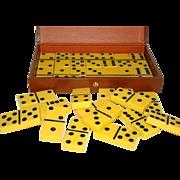 "SALE Vintage 28 Set BUTTERSCOTCH BAKELITE 2"" Dominos, Original Case"