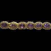 Antique/Vintage AMETHYST GLASS STONE Brass Fancy Bar Pin Brooch