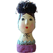 Lovely Vintage 1950s Pottery HAND PAINTED Lady Head Sewing PIN CUSHION, Japan