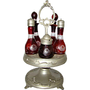 Antique BOHEMIAN Oxblood RUBY Etched Cut Clear Glass CASTOR CONDIMENT CRUET Set