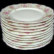 """9 Lovely Vintage D & CO. France LIMOGES Pink Rose/Floral 7-1/4"""" Plates +2"""