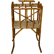 Antique English Chinoiserie Tortoise Bamboo MAGAZINE RACK, Canterbury Stand