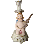 Tiny Vintage Hand Painted Porcelain CHERUB ANGEL Dresden Bud Vase OCCUPIED JAPAN