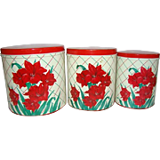 3 Vintage Nesting KITCHEN CANISTERS, Red/Green/Cream CHRISTMAS AMARYLLIS