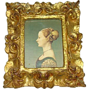 SOLD Lovely Old Florentine Ornate Gilded Wood Frame, Silhouette Woman, ITALY