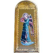 "Large Vintage 16"" FLORENTINE Gilded Wood PLAQUE, Angel w/ Tambourine, ITALY"