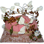 Antique/Vintage Pink WEDDING Bride Marriage DISPLAY STAND, Porcelain Flowers