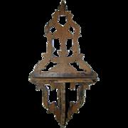 Sweet Antique PRIMITIVE Folk Art CARVED Wood Wall SHELF, Pierced Star Design
