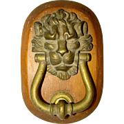 Heavy Bronze Brass Antique LION HEAD DOOR KNOCKER, Wood Mount, Struck Plate