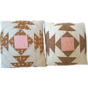 2 BEAR PAW Country Pillows Made from Antique Quilt, Navy, Brown & Pink
