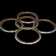5 Vintage Dainty BANGLE BRACELETS, Pastel SHELL Inlaid in Brass