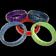 5 Vintage 1970s SNAKESKIN WRAPPED Bangle Bracelets, Assorted Colors