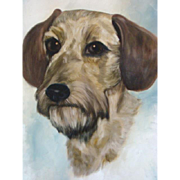 Charming Vintage FOLK ART Terrier Dog Portrait OIL PAINTING on Board 1965