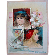 Antique EASTER GREETINGS Lithograph Trade Card, LION COFFEE, Frances Brundage