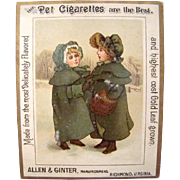 Antique Victorian Allen & Ginter PET CIGARETTES Little Girls Tobacco TRADE CARD