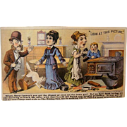 Antique Advertising Lithograph TRADE CARD, RISING SUN Stove Polish, Humorous