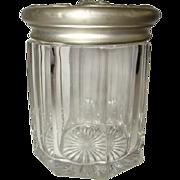 Antique Heavy Paneled Glass SMOKING Pipe Tobacco Humidor Jar, Cherub Lid