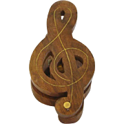 Vintage Carved Wood Musical TREBLE CLEF Paper Music Clip or Holder, Brass Inlay