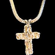 Large Vintage 14K Gold NUGGET Cross or Crucifix Pendant, Jan David Design