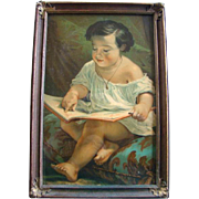 Antique Victorian Framed Color LITHOGRAPH PRINT, Child Learning To Read ABCs