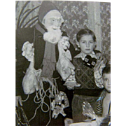 Wonderful 1930s Black & White CHRISTMAS PHOTOGRAPH, Belsnickle Santa Costume