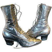 Antique Womens Black LEATHER Spat, High-Top LACE FRONT SHOES BOOTS, Never Worn