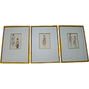 3 Vintage Framed Hand Tinted FASHION PLATE PRINTS, 1920s Flapper Era Gowns