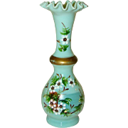 Lovely Antique Victorian BRISTOL GLASS Enamel Painted Ruffle Edge Vase