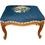 Antique FRENCH COUNTRY Floral Needlepoint CARVED WALNUT Stool, Cabriole Legs