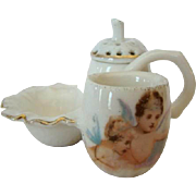 Adorable Miniature POTTERY Antique MUSTARD, Pepper Pot, Open Salt WINGED CHERUBS